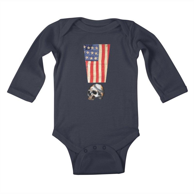 American Baseball Fan Kids Baby Longsleeve Bodysuit by Lads of Fortune Artist Shop