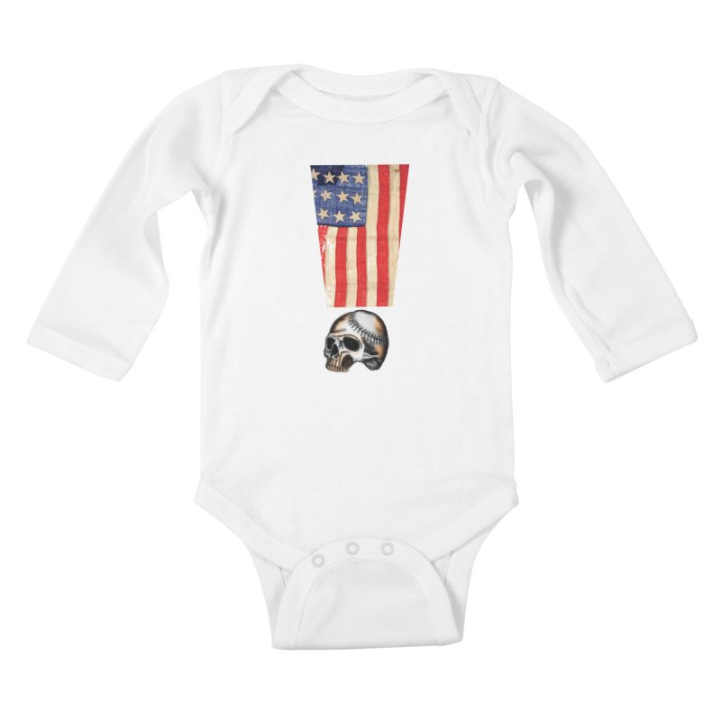 American Baseball Fan Kids Baby Longsleeve Bodysuit by Lads of Fortune Artist Shop