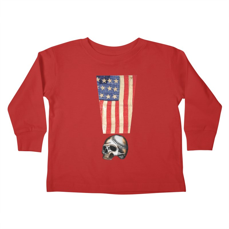 American Baseball Fan Kids Toddler Longsleeve T-Shirt by Lads of Fortune Artist Shop