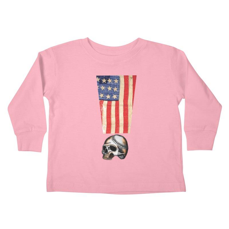 American Baseball Fan Kids Toddler Longsleeve T-Shirt by Lads of Fortune Artist Shop