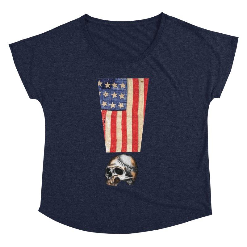 American Baseball Fan Women's Dolman Scoop Neck by Lads of Fortune Artist Shop