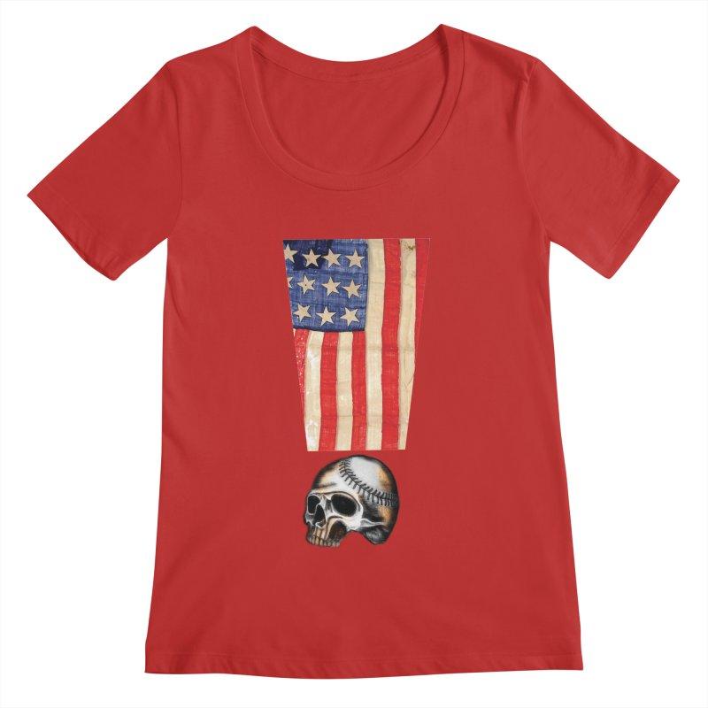 American Baseball Fan Women's Regular Scoop Neck by Lads of Fortune Artist Shop