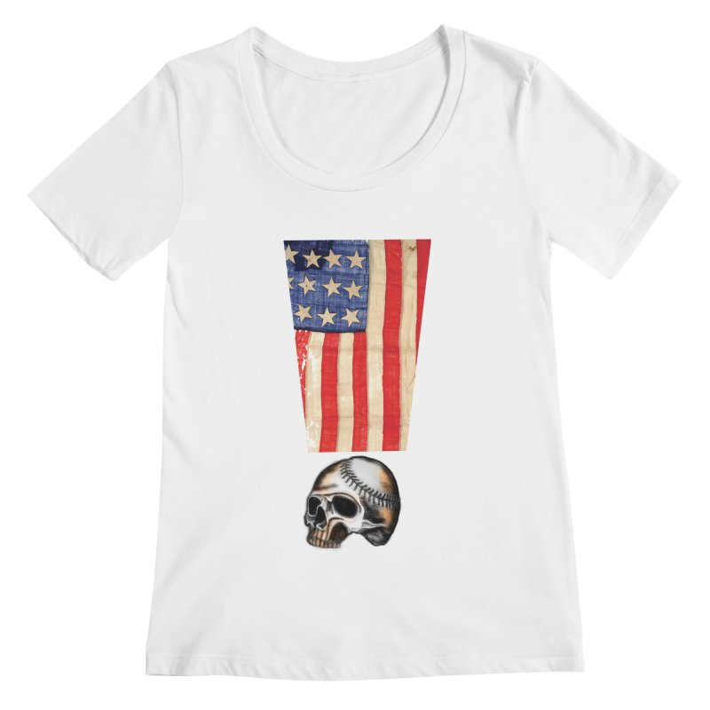 American Baseball Fan Women's Scoopneck by Lads of Fortune Artist Shop