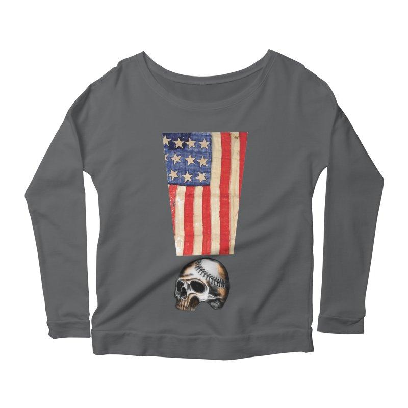 American Baseball Fan Women's Scoop Neck Longsleeve T-Shirt by Lads of Fortune Artist Shop