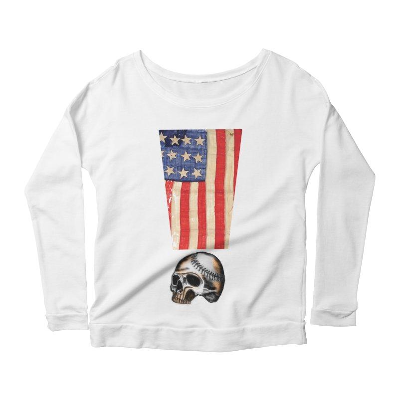 American Baseball Fan Women's Scoop Neck Longsleeve T-Shirt by Lads of Fortune Artist Shop