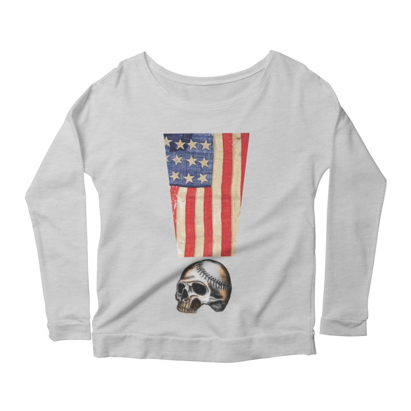American Baseball Fan Women's Longsleeve Scoopneck  by Lads of Fortune Artist Shop