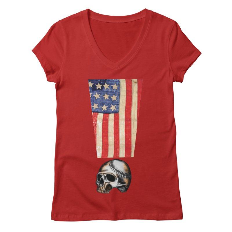 American Baseball Fan Women's V-Neck by Lads of Fortune Artist Shop