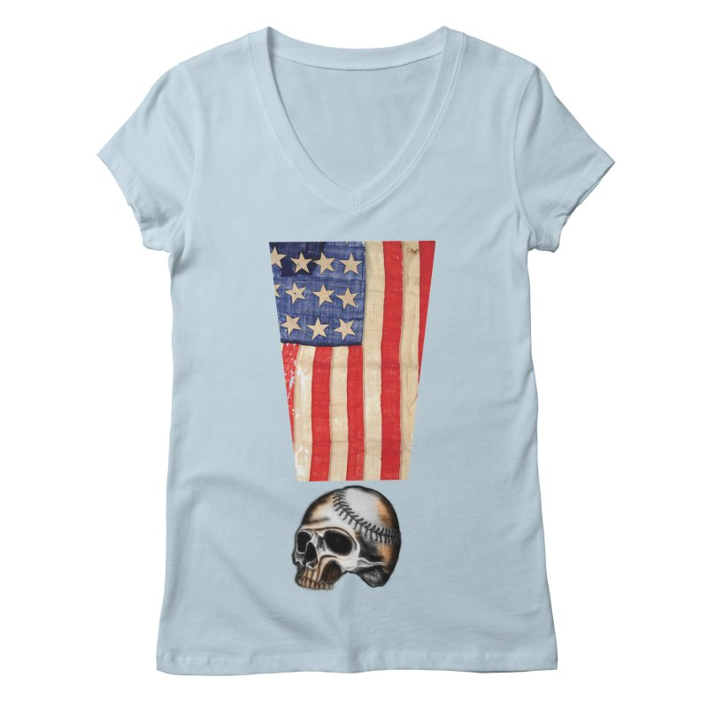 American Baseball Fan Women's V-Neck by Lads of Fortune Artist Shop