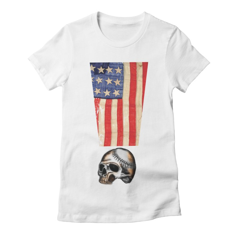 American Baseball Fan Women's Fitted T-Shirt by Lads of Fortune Artist Shop