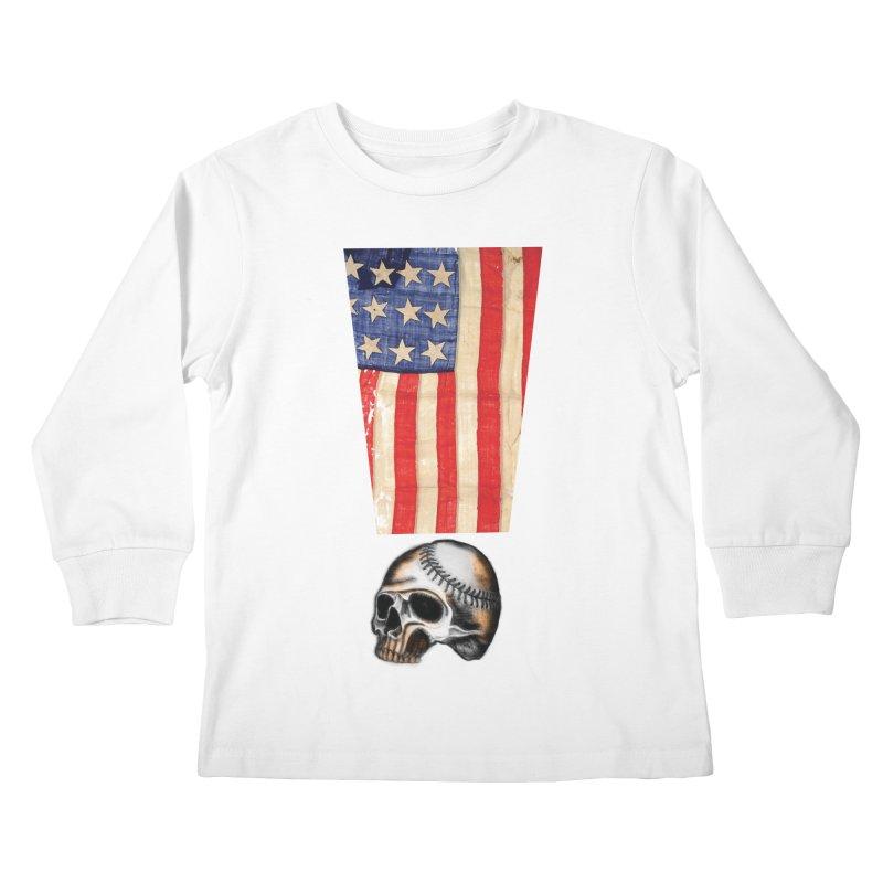American Baseball Fan Kids Longsleeve T-Shirt by Lads of Fortune Artist Shop