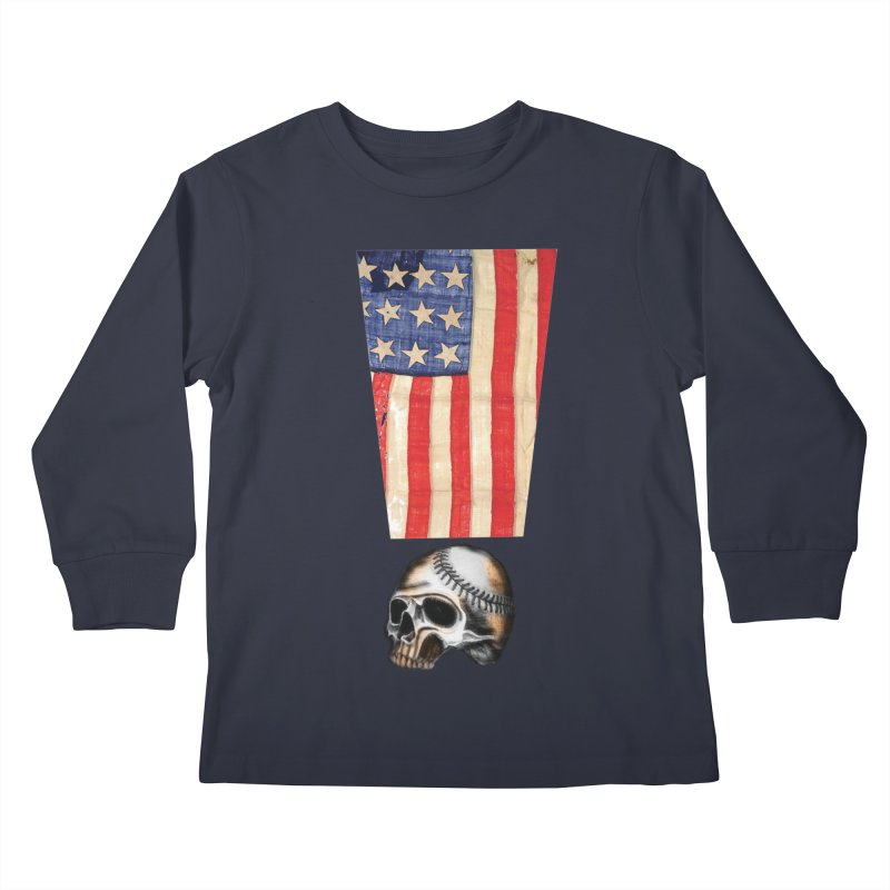 American Baseball Fan Kids Longsleeve T-Shirt by Lads of Fortune Artist Shop