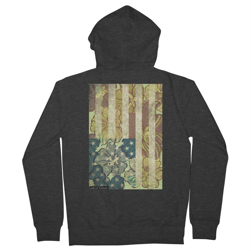 Floral Flag Hue Women's French Terry Zip-Up Hoody by Lads of Fortune Artist Shop