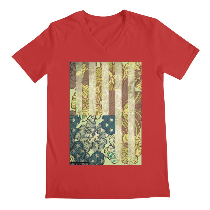 Floral Flag Hue Men's Regular V-Neck by Lads of Fortune Artist Shop