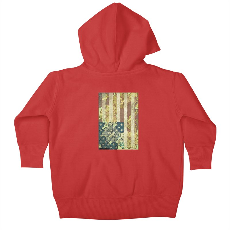 Floral Flag Hue Kids Baby Zip-Up Hoody by Lads of Fortune Artist Shop