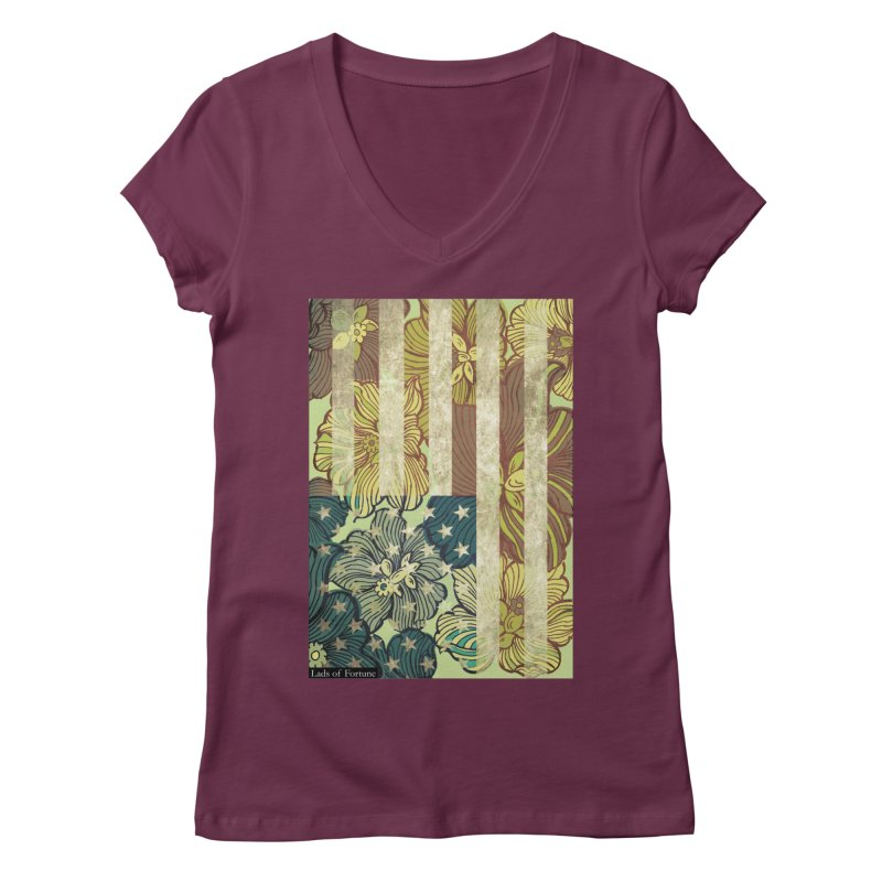 Floral Flag Hue Women's V-Neck by Lads of Fortune Artist Shop