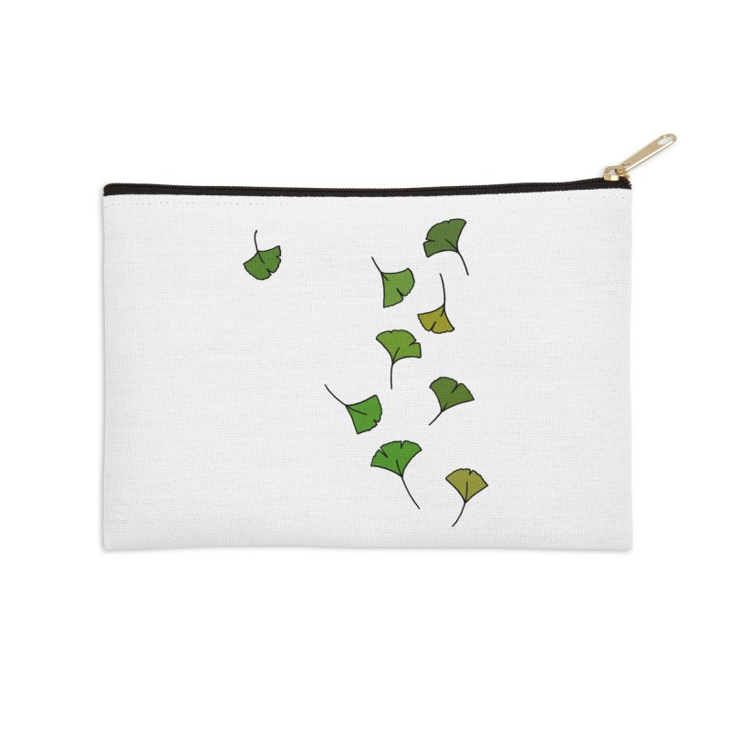 Ginkgo Leaves Accessories Zip Pouch by LadyBaigStudio's Artist Shop