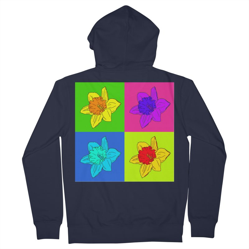 Warhol Daffodils Women's French Terry Zip-Up Hoody by LadyBaigStudio's Artist Shop
