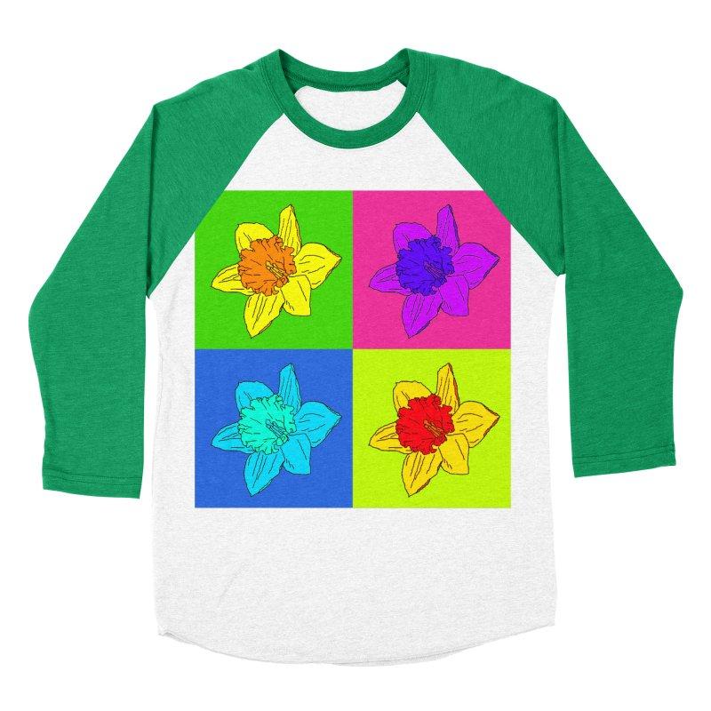 Warhol Daffodils Women's Baseball Triblend Longsleeve T-Shirt by LadyBaigStudio's Artist Shop