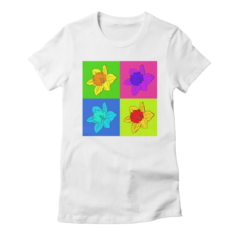 Warhol Daffodils Women's Fitted T-Shirt by LadyBaigStudio's Artist Shop
