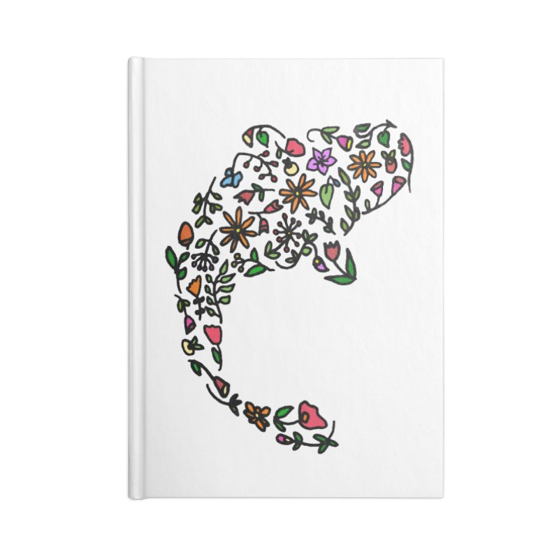 Floral Koi Fish Accessories Blank Journal Notebook by LadyBaigStudio's Artist Shop