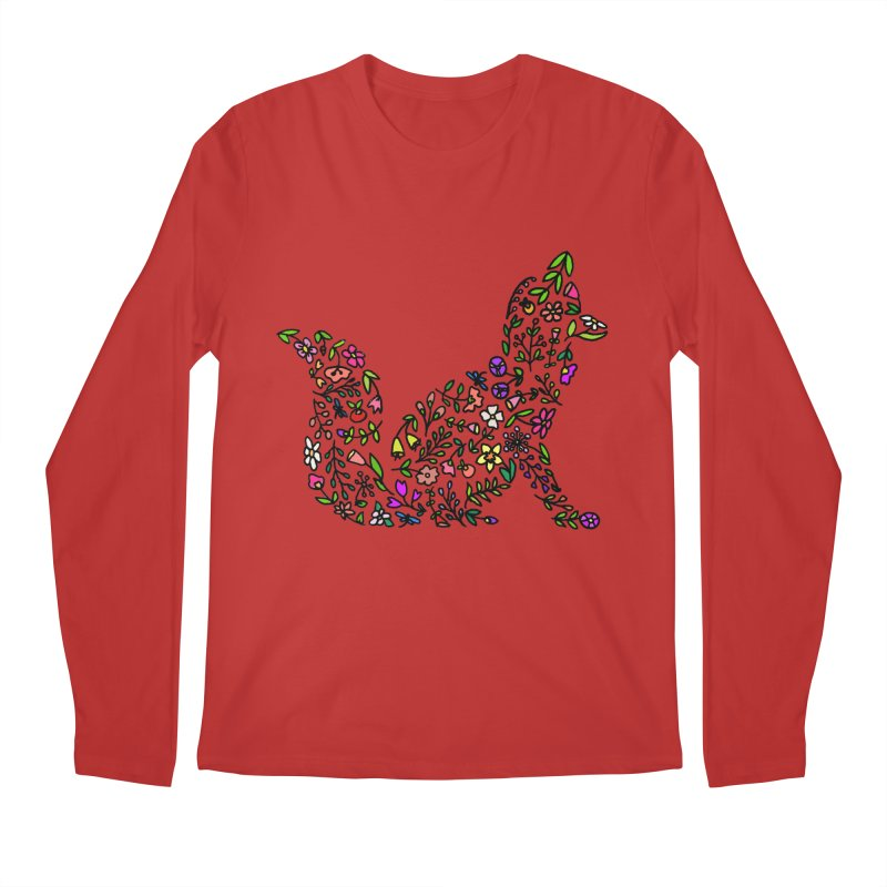Floral Fox Men's Regular Longsleeve T-Shirt by LadyBaigStudio's Artist Shop