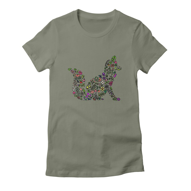 Floral Fox Women's Fitted T-Shirt by LadyBaigStudio's Artist Shop