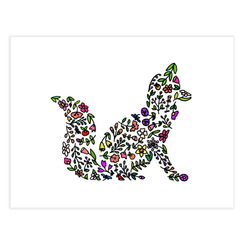Floral Fox Home Fine Art Print by LadyBaigStudio's Artist Shop