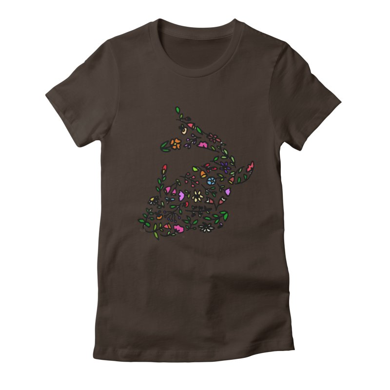 Floral Koi Fish 2 Women's Fitted T-Shirt by LadyBaigStudio's Artist Shop