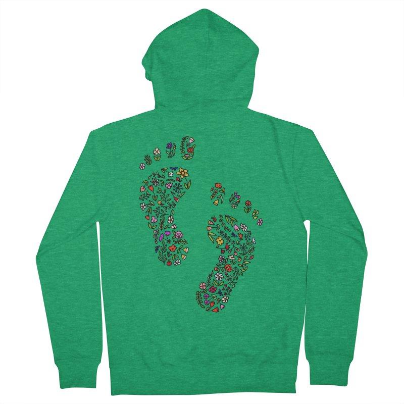 Floral Footprints Men's Zip-Up Hoody by LadyBaigStudio's Artist Shop