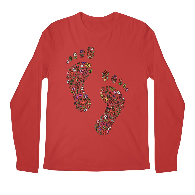 Floral Footprints Men's Regular Longsleeve T-Shirt by LadyBaigStudio's Artist Shop