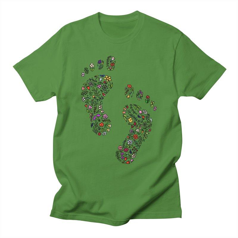 Floral Footprints Men's Regular T-Shirt by LadyBaigStudio's Artist Shop