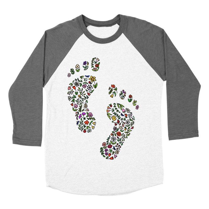 Floral Footprints Women's Baseball Triblend Longsleeve T-Shirt by LadyBaigStudio's Artist Shop