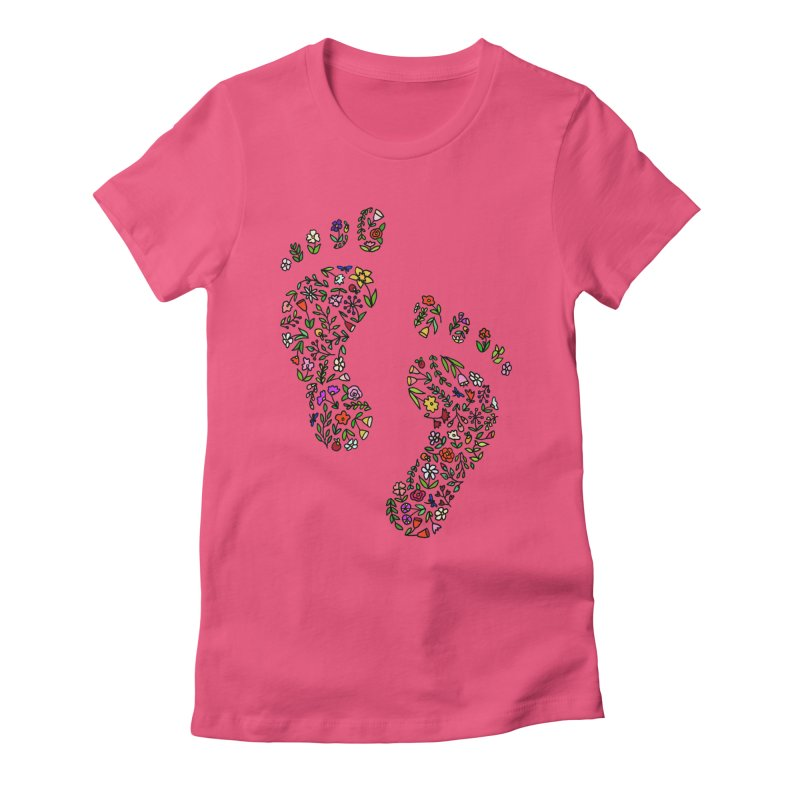 Floral Footprints Women's Fitted T-Shirt by LadyBaigStudio's Artist Shop