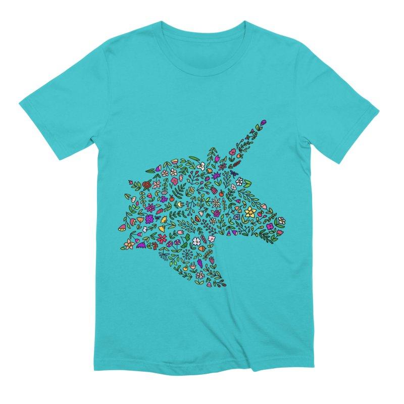 Floral Unicorn Men's T-Shirt by LadyBaigStudio's Artist Shop