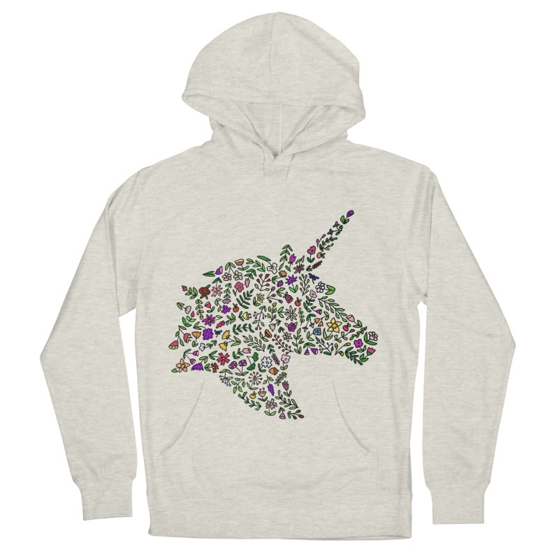 Floral Unicorn Women's French Terry Pullover Hoody by LadyBaigStudio's Artist Shop