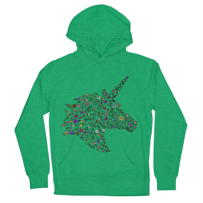 Floral Unicorn Men's French Terry Pullover Hoody by LadyBaigStudio's Artist Shop