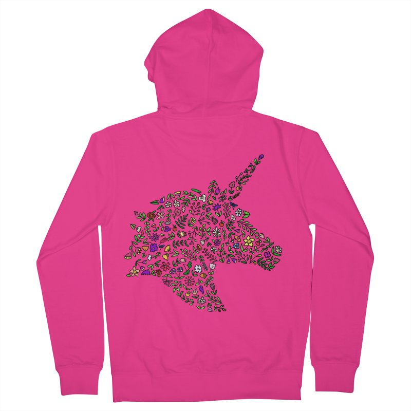 Floral Unicorn Men's French Terry Zip-Up Hoody by LadyBaigStudio's Artist Shop