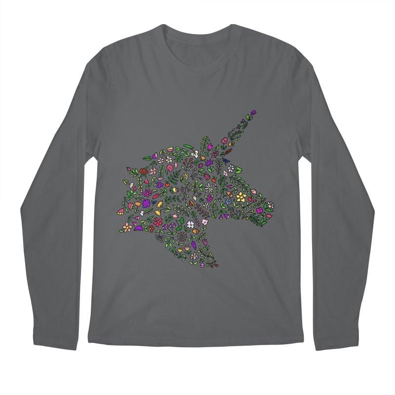 Floral Unicorn Men's Longsleeve T-Shirt by LadyBaigStudio's Artist Shop