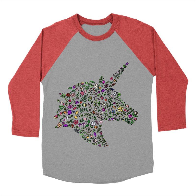 Floral Unicorn Women's Baseball Triblend Longsleeve T-Shirt by LadyBaigStudio's Artist Shop
