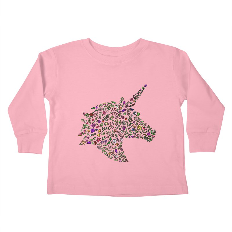 Floral Unicorn Kids Toddler Longsleeve T-Shirt by LadyBaigStudio's Artist Shop