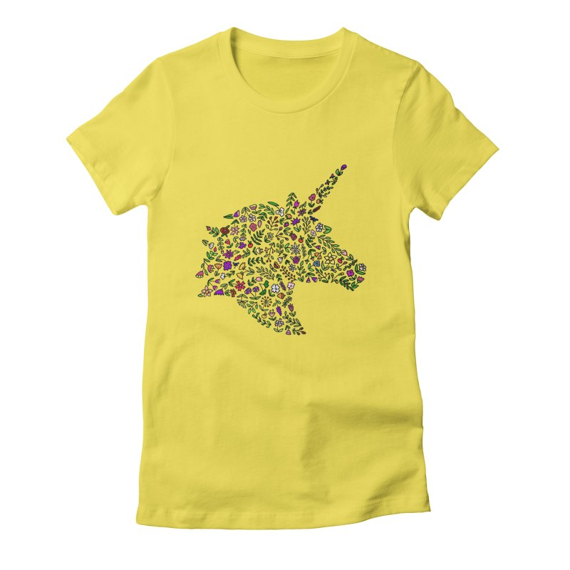 Floral Unicorn Women's Fitted T-Shirt by LadyBaigStudio's Artist Shop