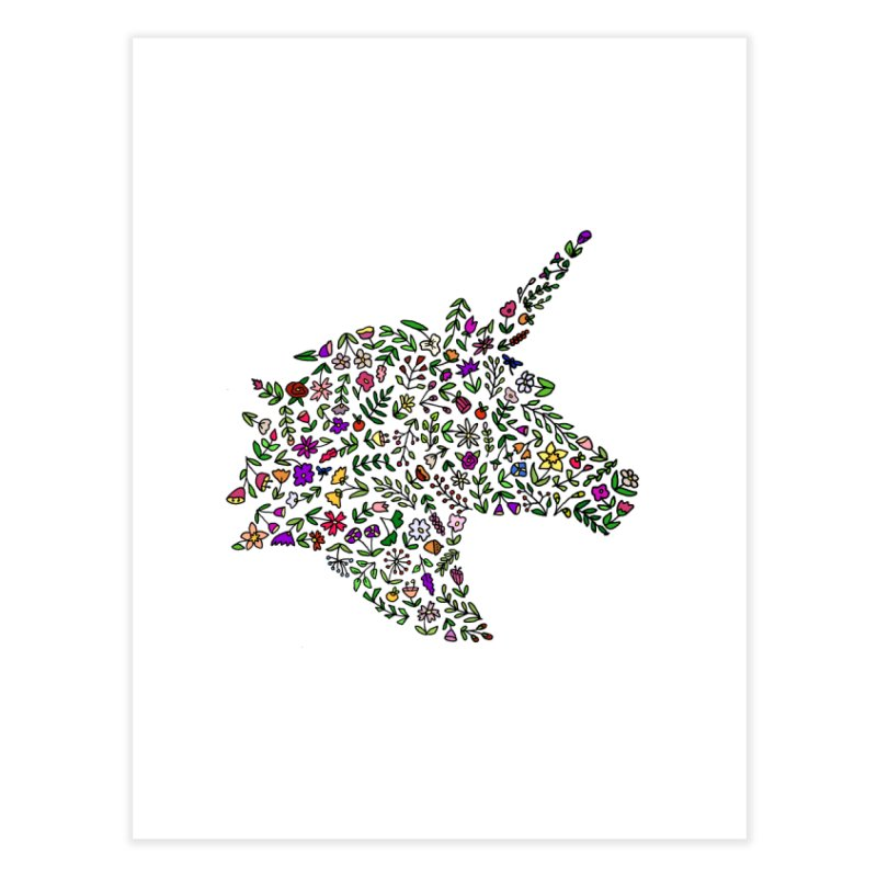 Floral Unicorn Home Fine Art Print by LadyBaigStudio's Artist Shop