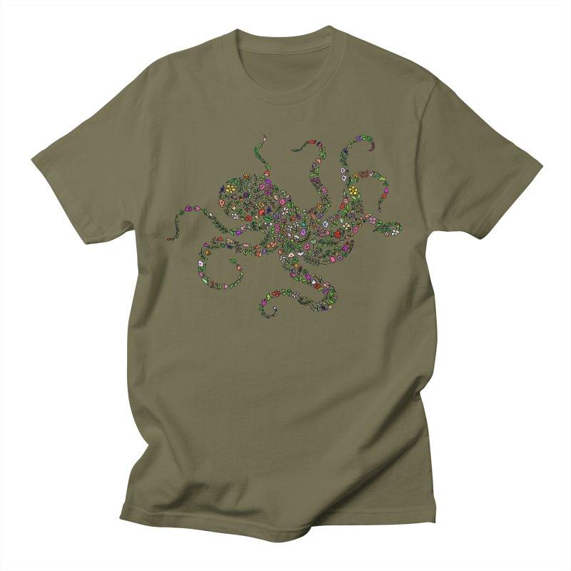 Floral Octopus Men's T-Shirt by LadyBaigStudio's Artist Shop