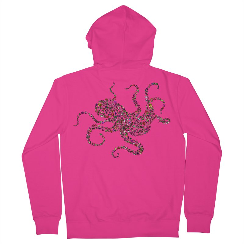 Floral Octopus Men's Zip-Up Hoody by LadyBaigStudio's Artist Shop