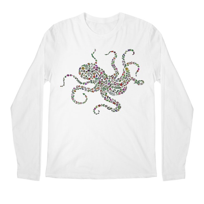 Floral Octopus Men's Regular Longsleeve T-Shirt by LadyBaigStudio's Artist Shop