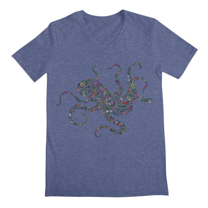 Floral Octopus Men's V-Neck by LadyBaigStudio's Artist Shop