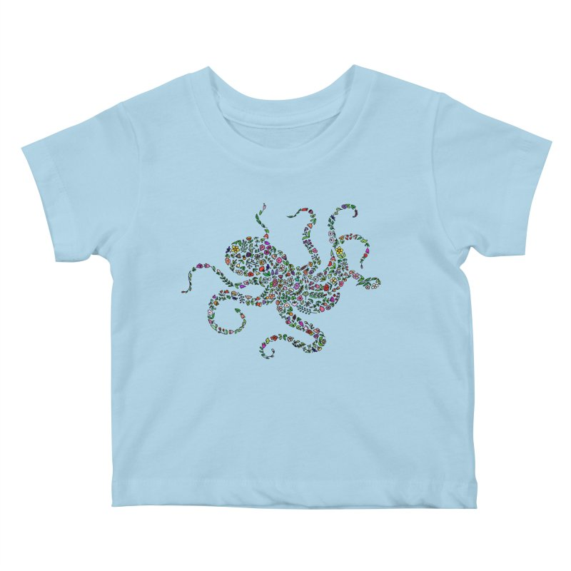 Floral Octopus Kids Baby T-Shirt by LadyBaigStudio's Artist Shop