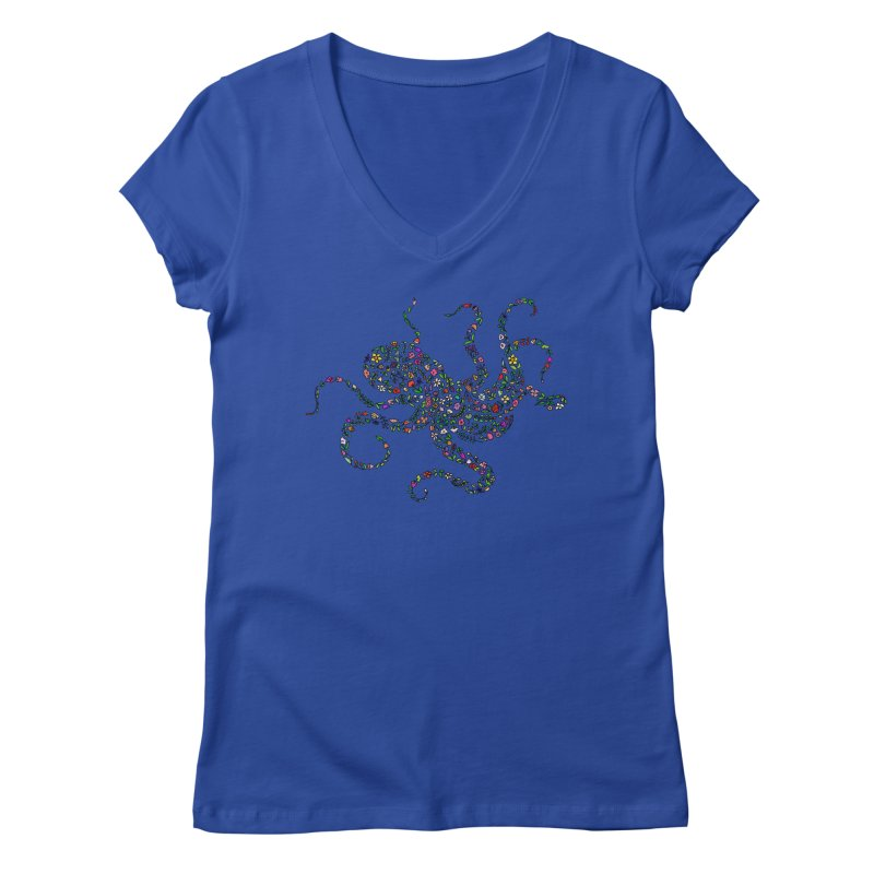 Floral Octopus Women's V-Neck by LadyBaigStudio's Artist Shop