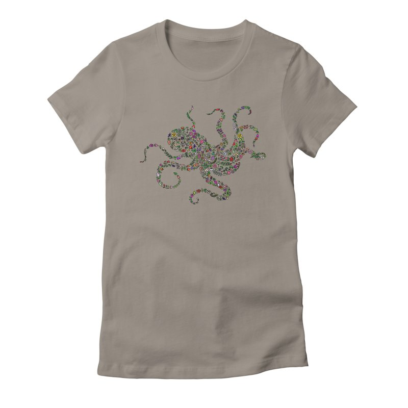Floral Octopus Women's Fitted T-Shirt by LadyBaigStudio's Artist Shop