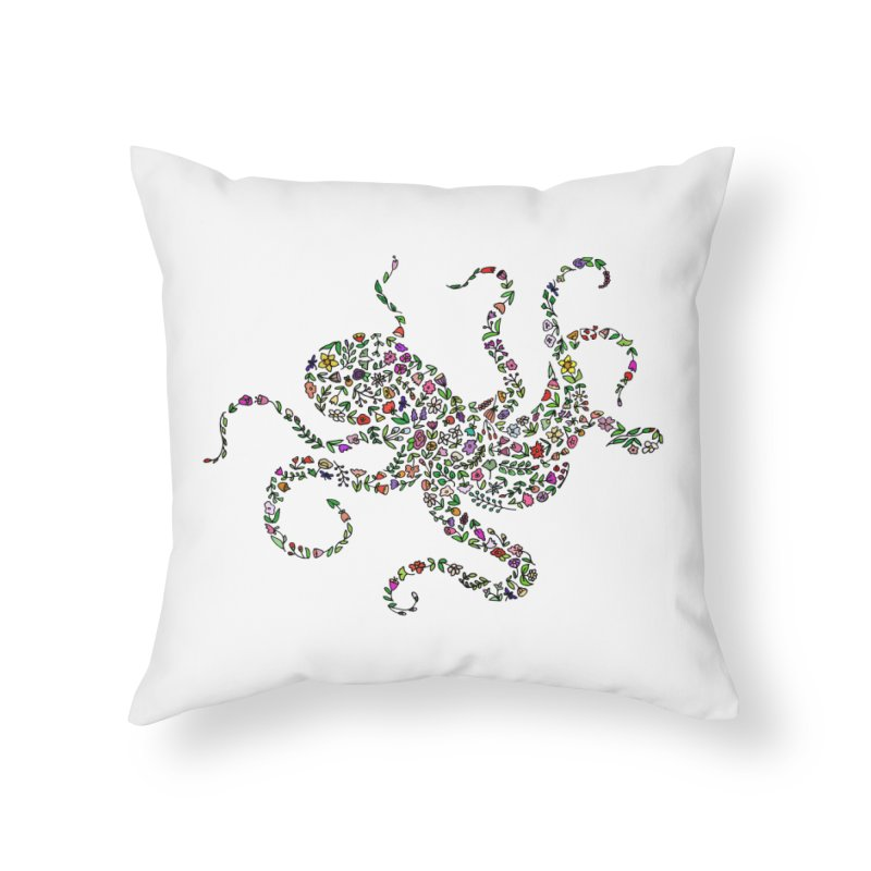 Floral Octopus Home Throw Pillow by LadyBaigStudio's Artist Shop